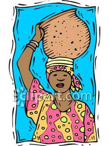 Woman Carrying a Water Pot on Her Head Royalty Free Clipart Picture.