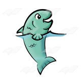A Beka Book :: Clip Art :: Green Fish—with head out of water.