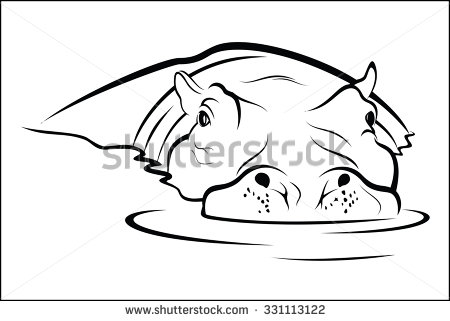 Hippo In Water Clipart.