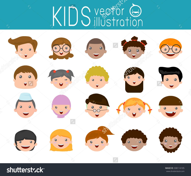 Set Cartoon Children Head Cartoon Child Stock Vector 308114105.