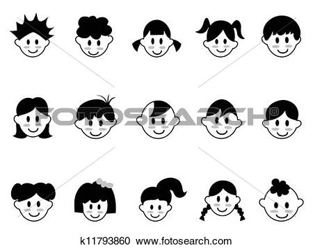Clipart of kids head icons k11793860.