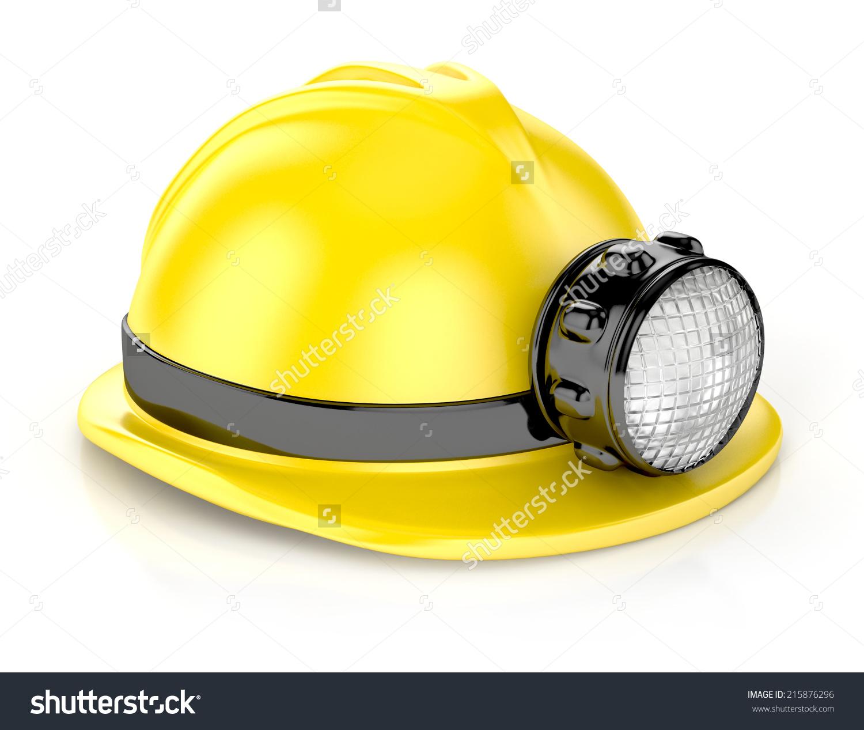 Construction Helmet Headlamp 3d Illustration Isolated Stock.