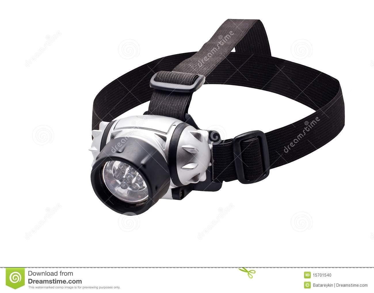 Headlamp Flashlight Stock Photo.