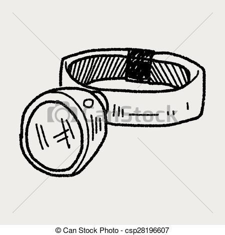 Vector Clipart of Headlamp doodle csp28196607.