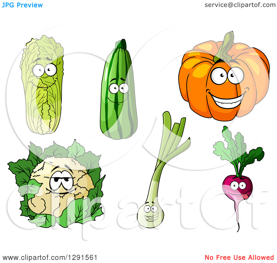 Clipart of Happy Cabbage, Zucchini, Pumpkin, Cauliflower, Leek and.