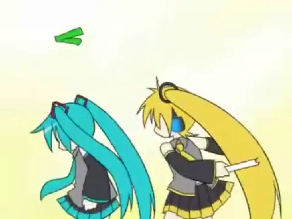 Triple Baka: Akita Neru hitting Miku in the head with a leek.