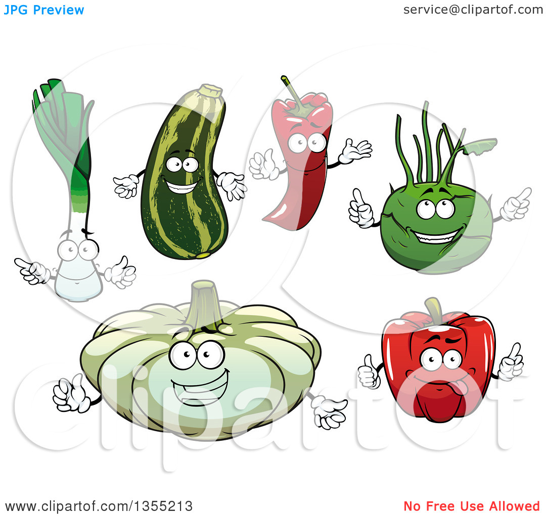 Clipart of Cartoon Leek, Squash, Paprika Pepper, Kohlrabi, Red.