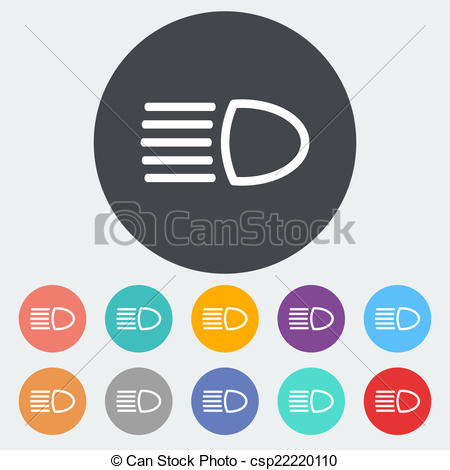 Vector Clip Art of Headlight icon..
