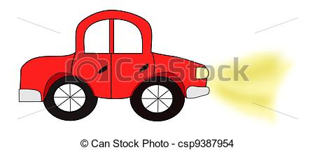 Drawing of Red Automobile with Headlights.