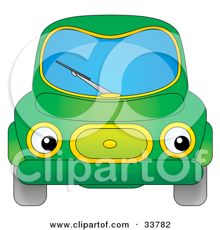 Clipart Illustration of a Green Car With Eye Headlights by Alex.
