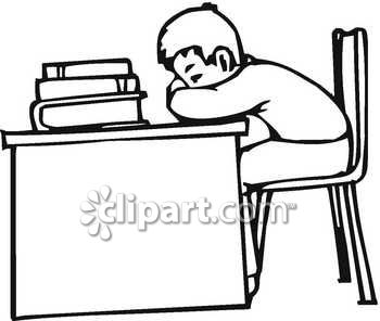 Student with head on desk clipart.
