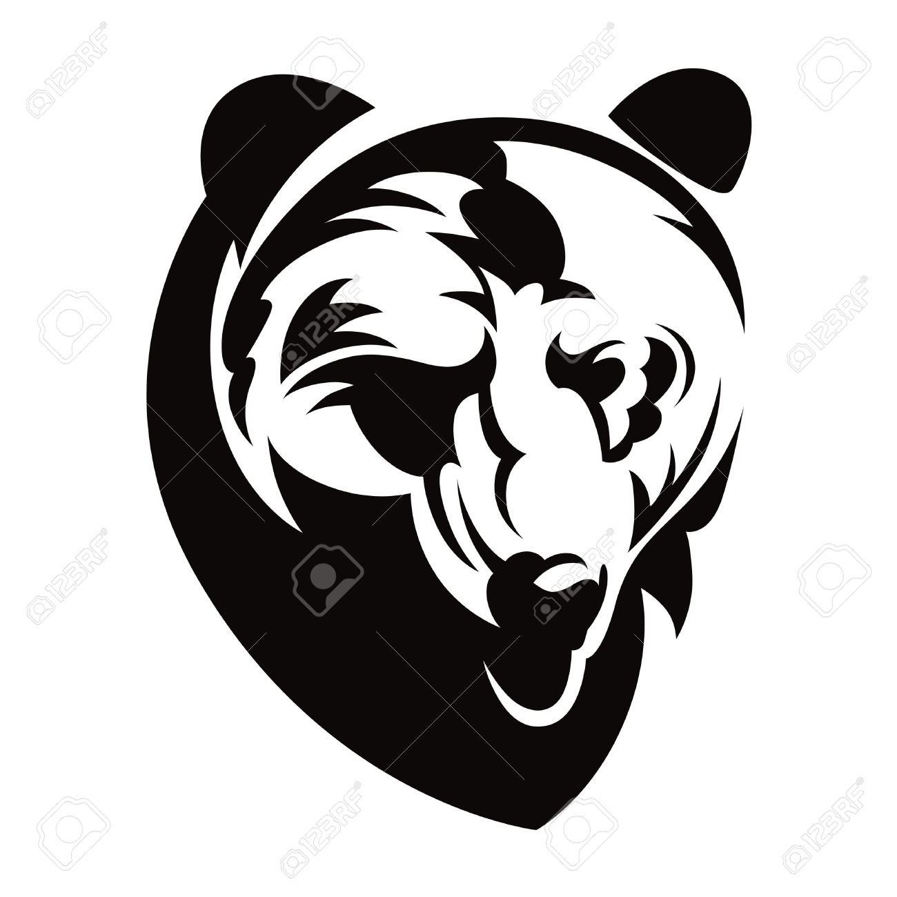 Bear Head Animal Beast Nature Vector Illustration Royalty Free.