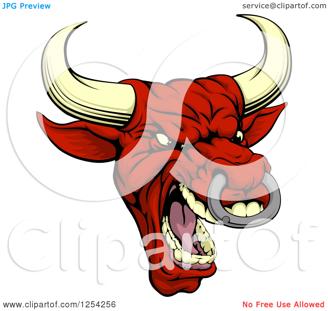 Clipart of a Mad Red Bull with a Nose Ring.