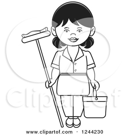 Clipart of a Black and White Maid Vaccuming.