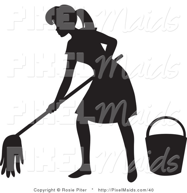 Clipart of a Black Silhouetted Maid Woman with a Mop and Bucket.
