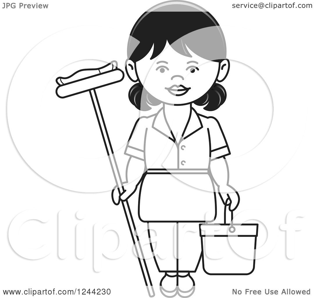 Clipart of a Black and White Female Maid with a Mop and Bucket.