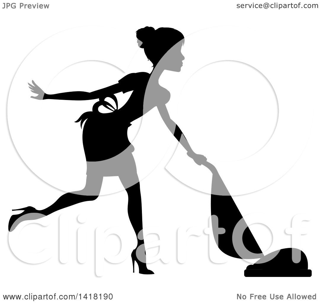 Clipart of a Black Silhouetted Female Maid with Her Hair in a Bun.