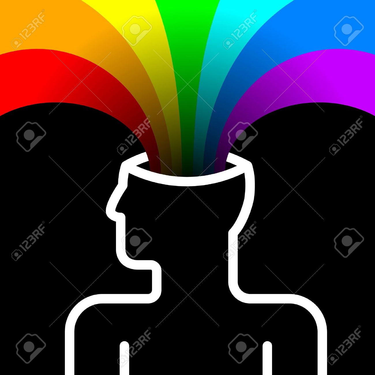State Of Happiness With Rainbow Out Of Head Royalty Free Cliparts.