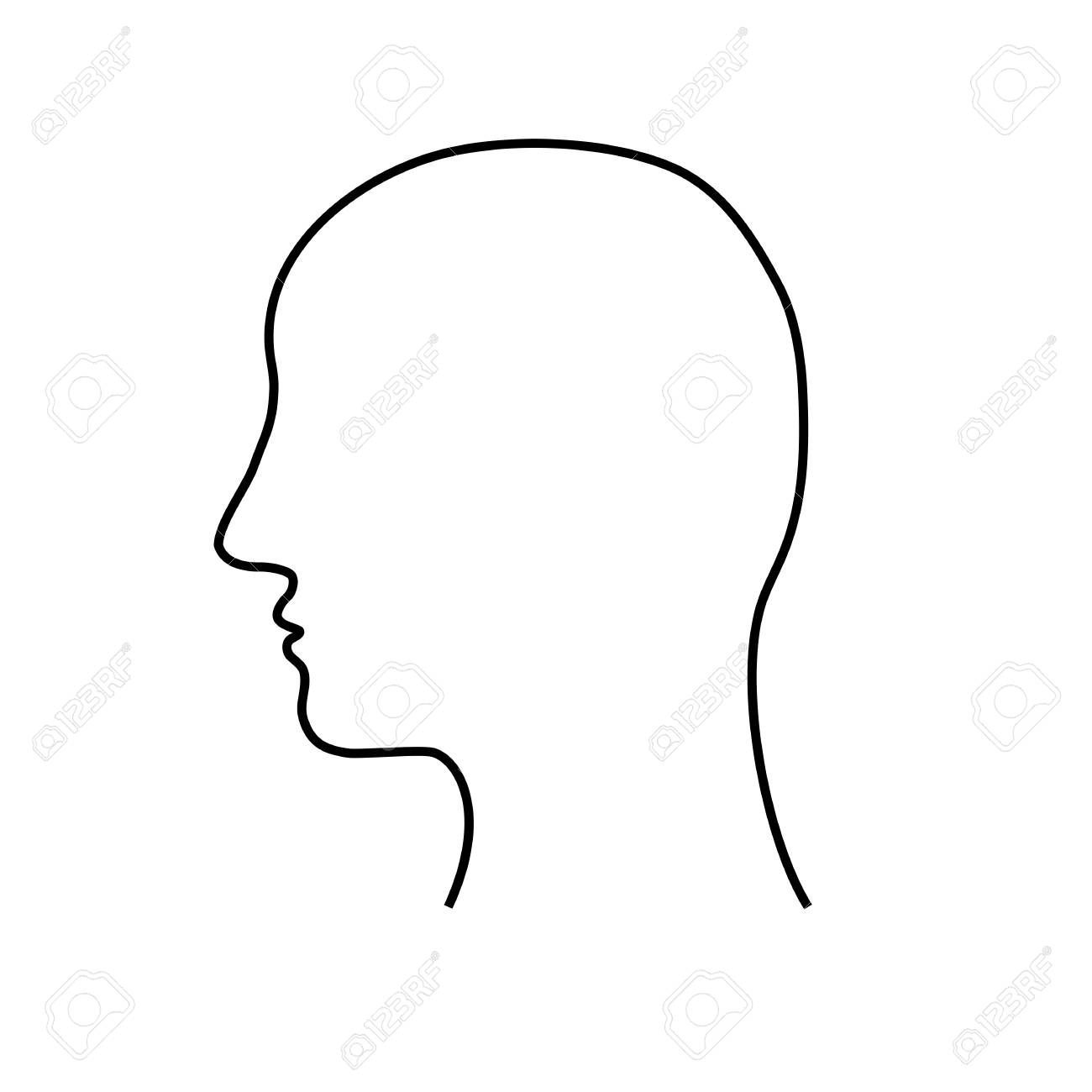 Empty mans head outline with no hair.