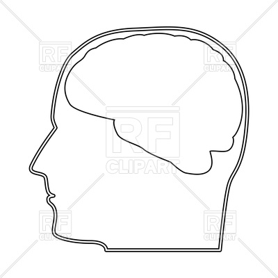 Head with brain outline icon Stock Vector Image.
