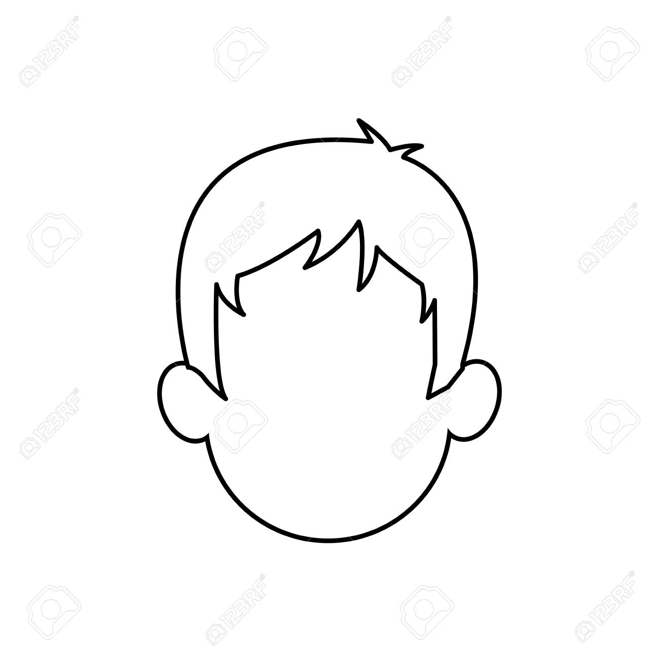 outline head man character person vector illustration.