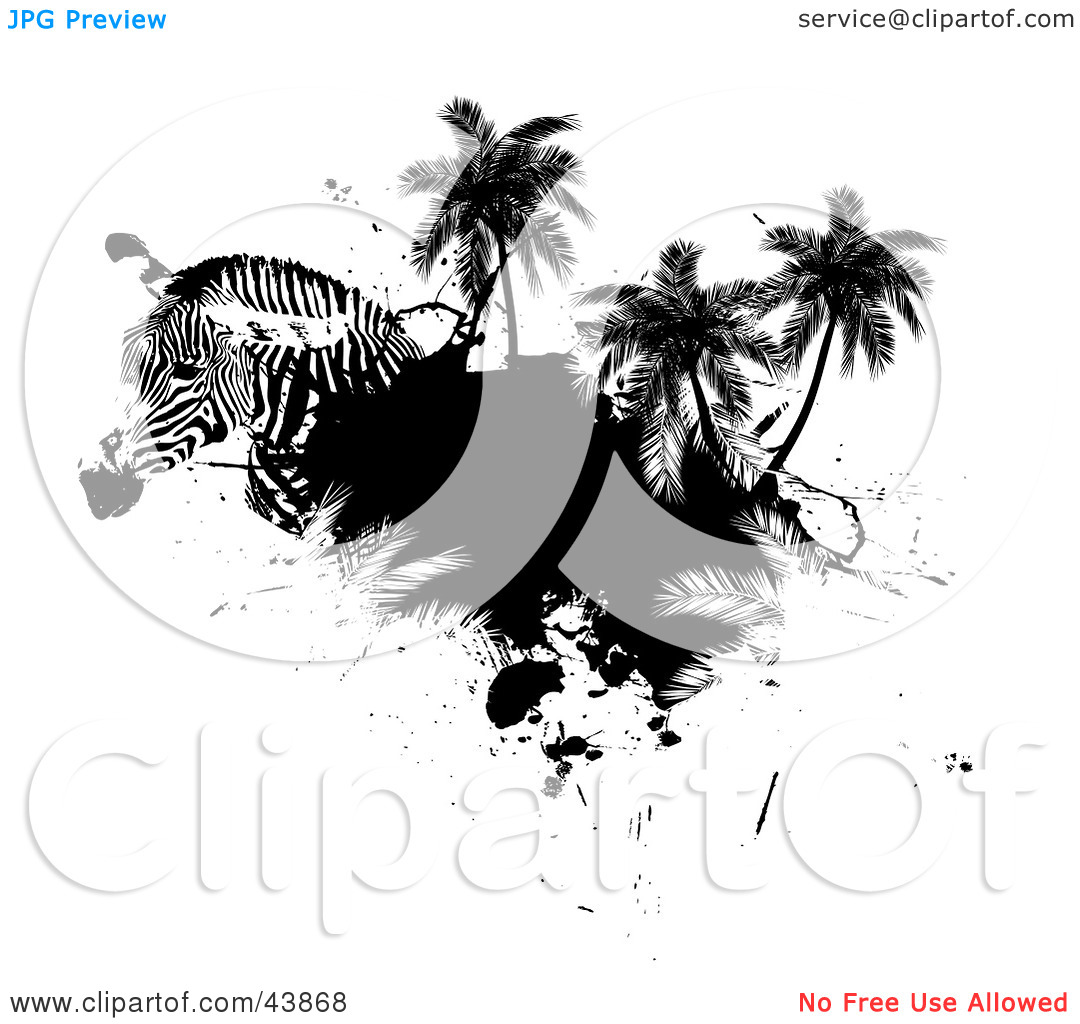 Clipart Illustration of a Zebra Head With Palm Trees And Black.