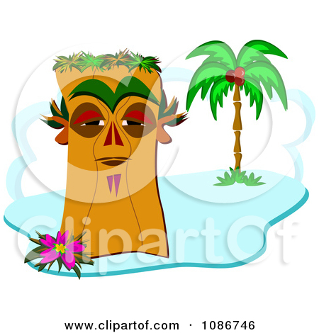 Cartoon of a Tiki with Two Palm Trees.