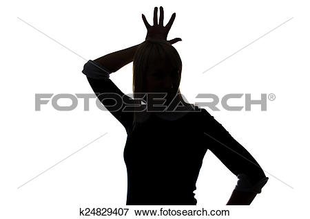 Picture of Silhouette of woman with palm on head k24829407.