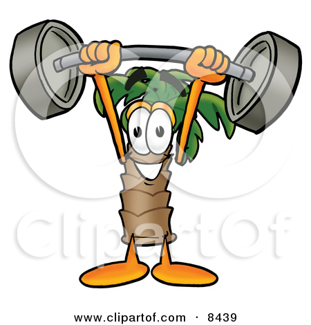 Clipart Picture of a Palm Tree Mascot Cartoon Character Holding a.