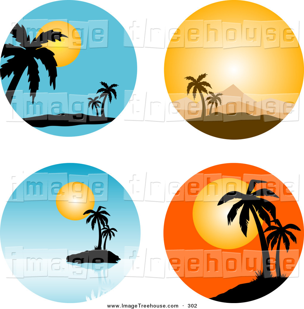 Palm Tree Sunset Clipart 400 Pxl By 150 Pxl.