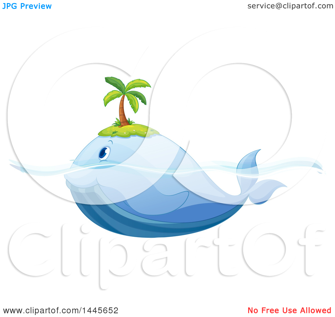 Clipart of a Whale Swimming with a Palm Tree Island on Its Head.