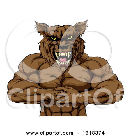 Clipart of a Tough Vicious Muscular Brown Wolf Man Punching His.