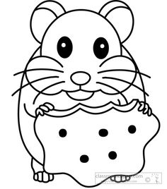 Hamster Coloring Page.