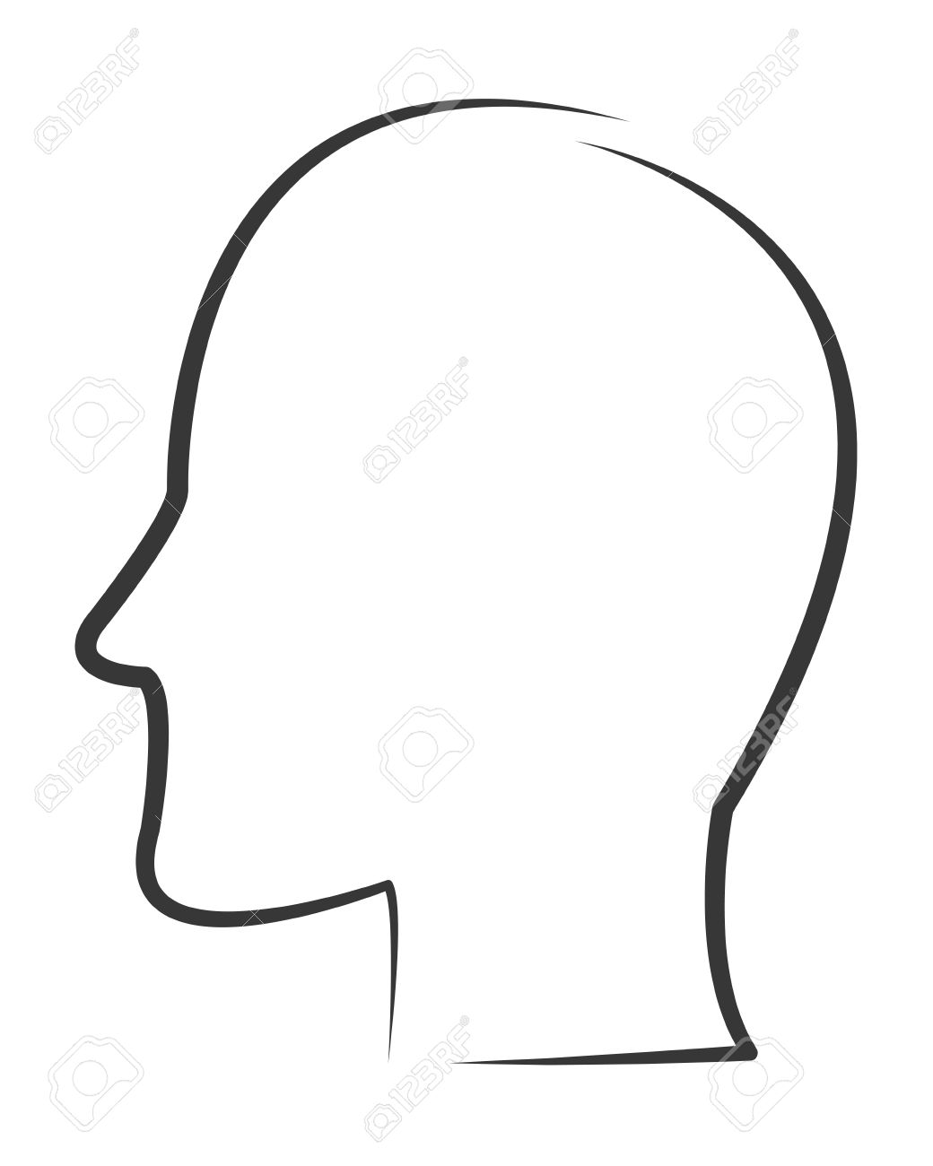 simple flat design head profile outline icon vector illustration.