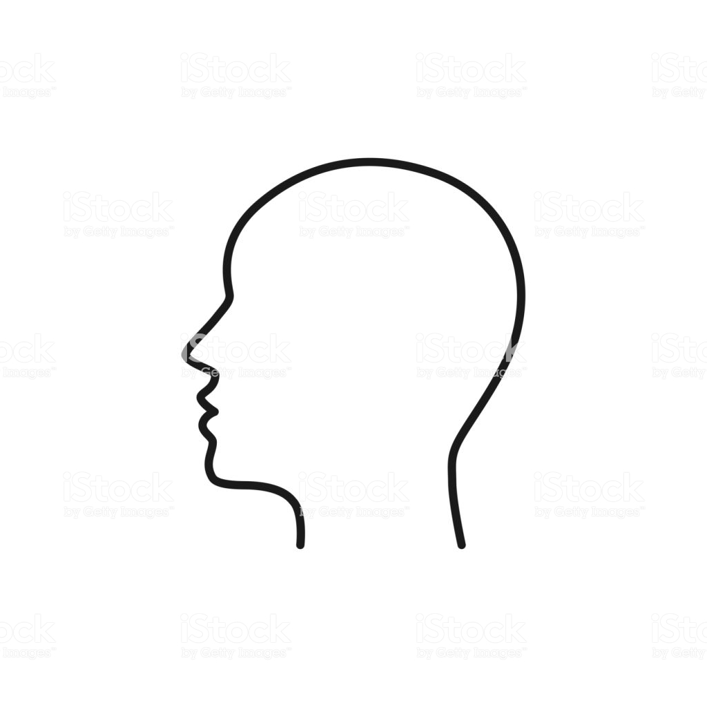 Black Isolated Outline Icon Of Head On White Background Line Icon Of.