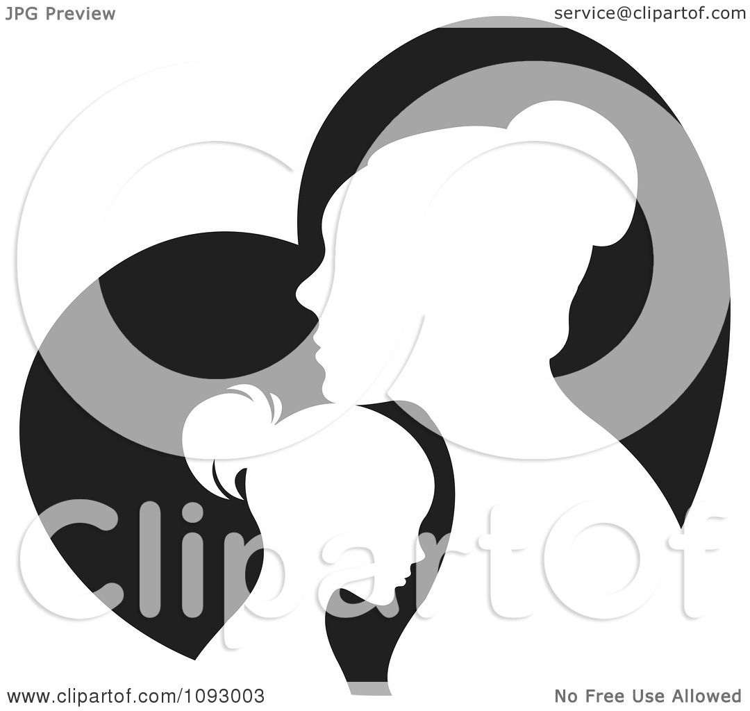 Clipart Silhouetted Mother And Daughter Over A Black Heart.