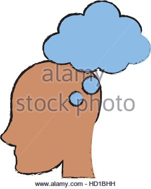silhouette of human head profile with heart shape icon inside over.