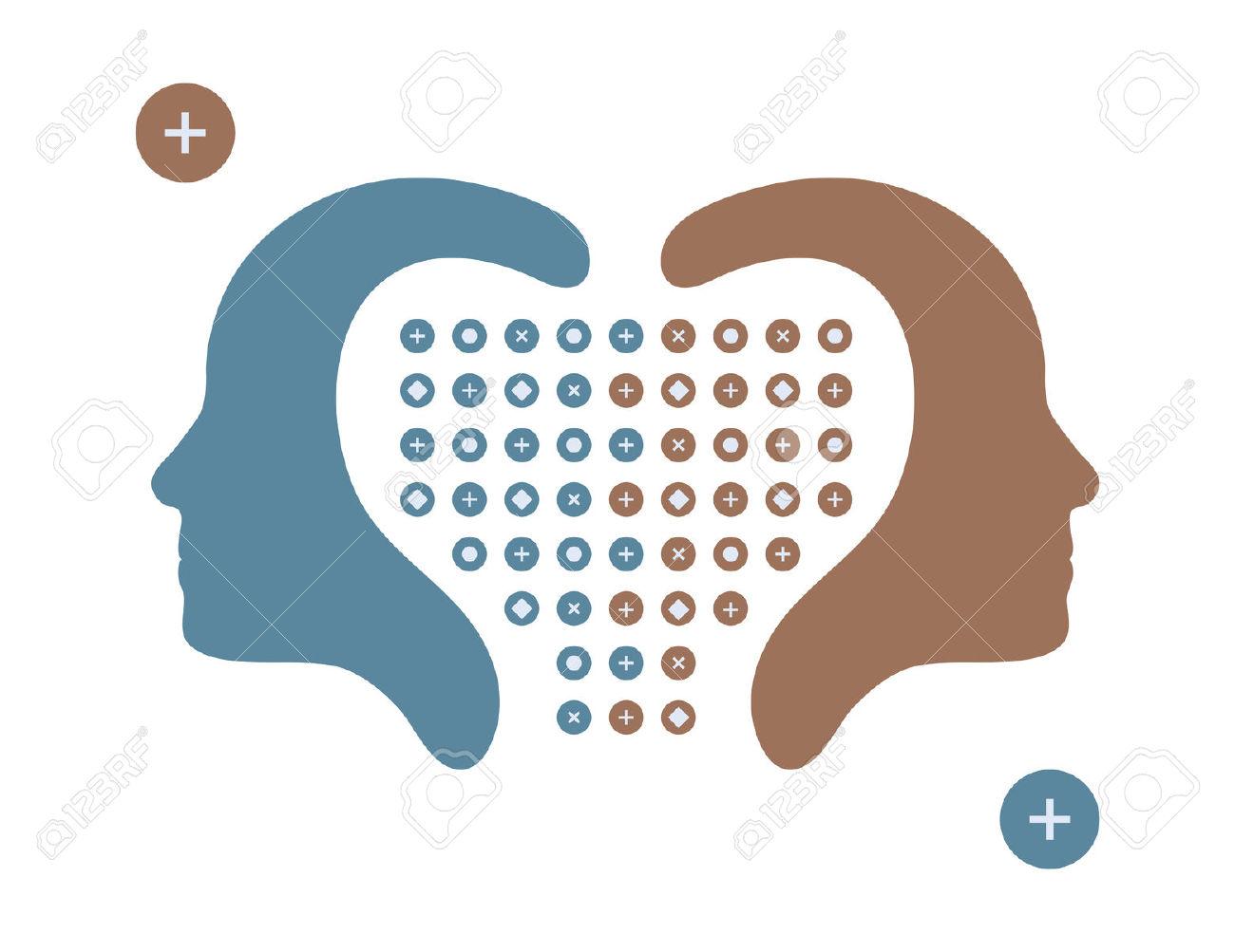 Vector Illustration Of Human Heads, Profiles Face Opposite Ways.