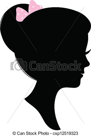 Vector Illustration of Vintage woman head silhouette isolated on.