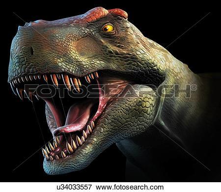 Stock Illustration of Tyrannosaurus Rex Head Study u34033557.
