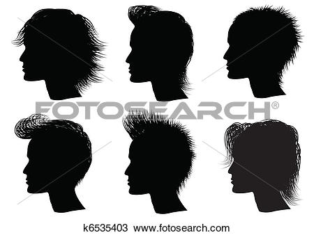 Clipart of Hairstyle elements for salon with face. Vec tor.