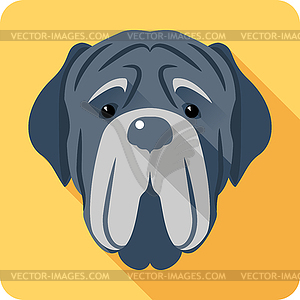 Neapolitan Mastiff icon head flat design.