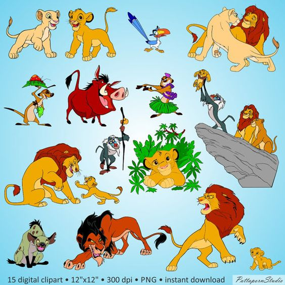 "Buy 2 Get 1 Free! Digital Clipart ""The Lion King"" lovely cartoon."