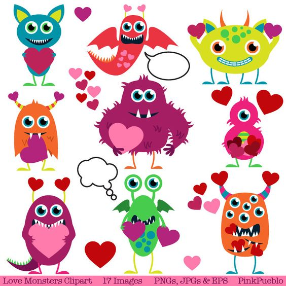 Valentine Monsters Clipart Clip Art, Love Monsters Clipart Clip.
