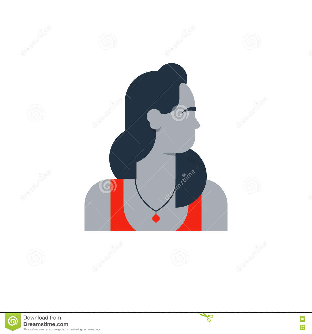 Woman Side View, Turned Head Stock Vector.