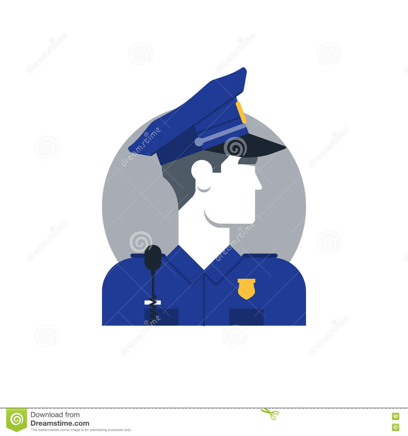 Police Officer Side View, Turned Head Stock Vector.