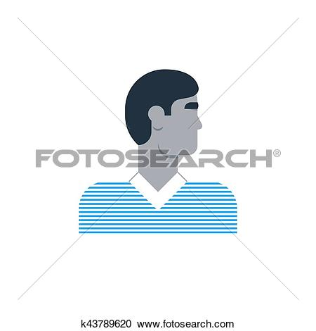 Clipart of Man side view, turned head, casual outfit, good.