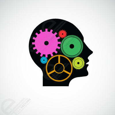 Free Human head and gears, Clipart.