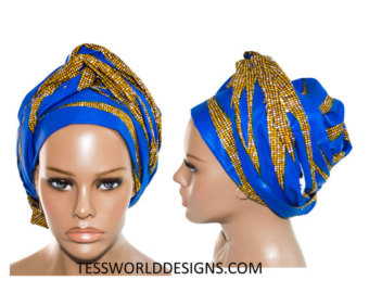 Cotton Scarf head wraps / African Head wraps/ by TessWorldDesigns.