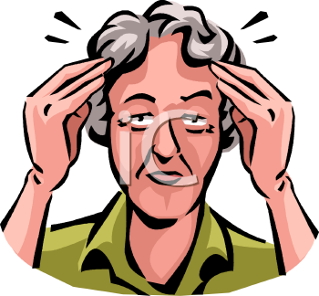 Old Woman with a Headache Clip Art.